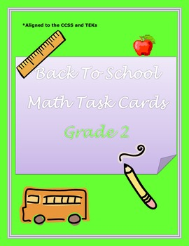 Back To School - Math Task Cards Grade 2
