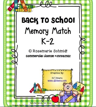 Back To School Memory Match K-2