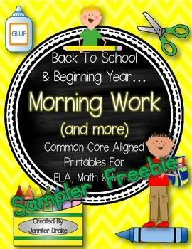 Back To School Morning Work & More FREEBIE SAMPLER!