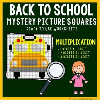 Back To School Multiplication Coloring Worksheets