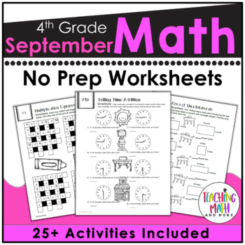 Back To School NO PREP Math Packet - 4th Grade