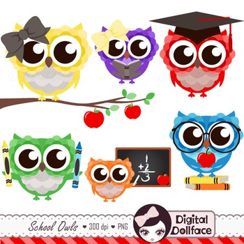 Back To School Owl Clipart / Graduation, Reading, Math, Ap