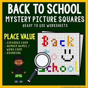 Back To School Place Value Coloring Worksheets