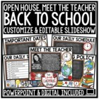 Back To School PowerPoint • Open House • Meet The Teacher
