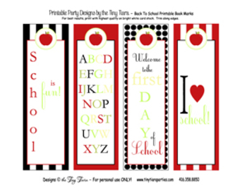 Back To School Printable Book Marks