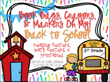 Back To School Centers-Reading Centers, Math Centers, and