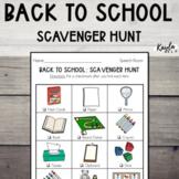Back To School: Scavenger Hunt