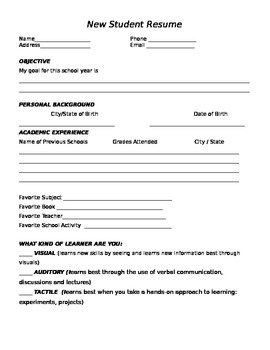 Back-To-School - Student Resume Activity