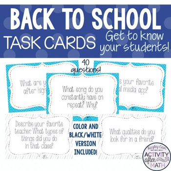 Back To School Task Cards! Get to know your students!