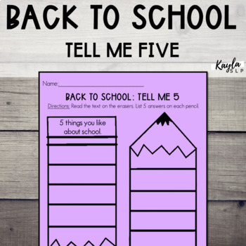 Back To School: Tell Me 5