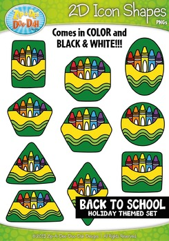 Back To School Themed 2D Icon Shapes Clipart Set — Include