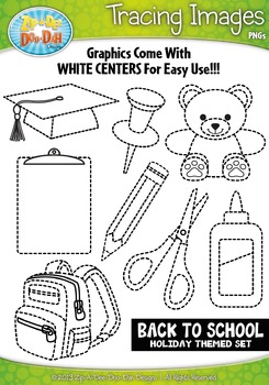 Back To School Themed Tracing Image Clipart Set — Includes