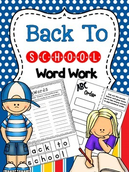 Back To School Word Work for the Beginning of the Year