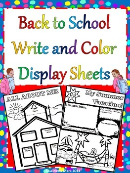 Beginning of the Year - Back To School Write and Color Dis