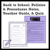 Back to Middle School: Policies & Procedures Notes, Teache