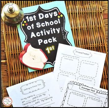 Back to School First Day of School Activities for First Grade