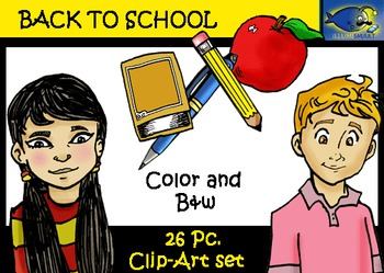 Back to School 26 pc. Clip-Art Set: 13 B&W, 13 Color -Feat
