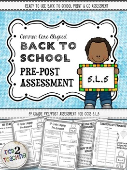 Back to School 5th Grade Language CCSS Pre/Post Assessment