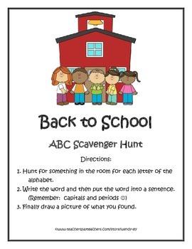 Back to School--ABC Scavenger Hunt