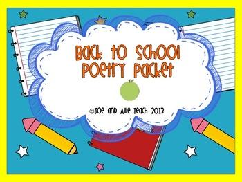 Back to School Acrostic Poetry Packet