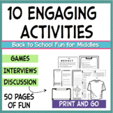 Back to School and First Day Activities