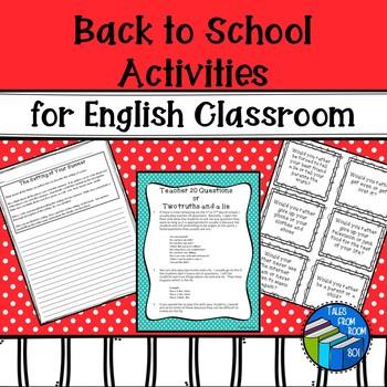 English Back to School Activities - Bundle - NO PREP