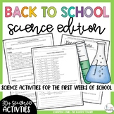 Back to School Beginning of the Year Activities: Science Edition!