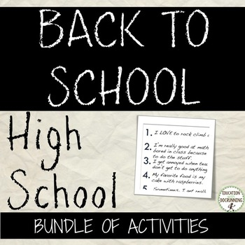 Back to school Activities for High School - Back to School