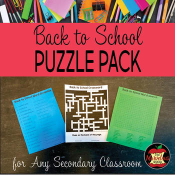 Back to School Activity-Puzzle Pack