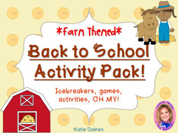 Back to School Activity Pack- FARM THEMED
