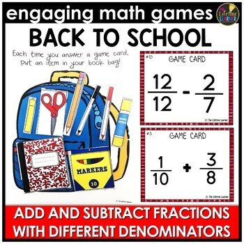 Back to School Adding and Subtracting Fractions (Different