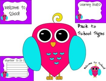 Back to School Assorted Owl Sign Set