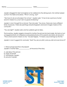 Back to School - Augmented 4th Grade English Worksheet - C