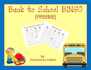 Back to School BINGO FREEBIE {editable}