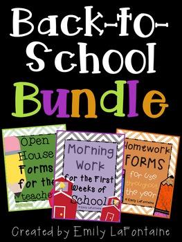 Back to School BUNDLE w/ Open House Paperwork, Morning Wor