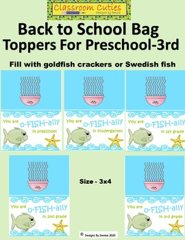 Back to School Bag Toppers For Preschool Through 3rd Grade