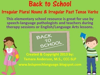 Back to School Baseline Check-Irregular Plural Nouns & Pas