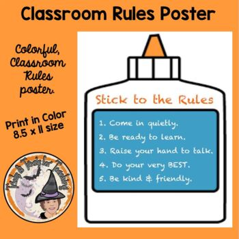 Back to School Behavior Management Poster Stick To the Rul