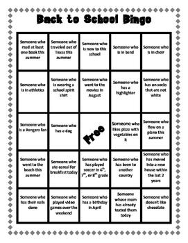 Back to School Bingo