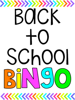 Back to School Bingo - Bright Version!