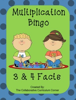 Back to School Bingo - Multiplication 3's and 4's Facts
