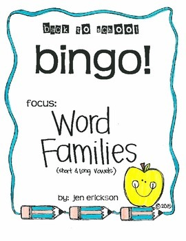 Back to School Bingo:  Word Families