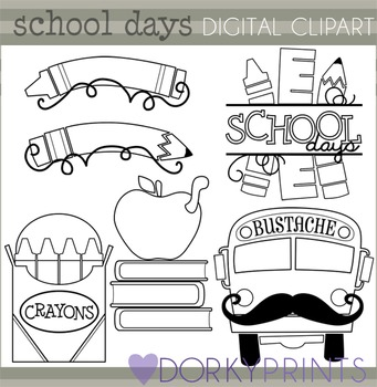 Back to School Black Line Clipart