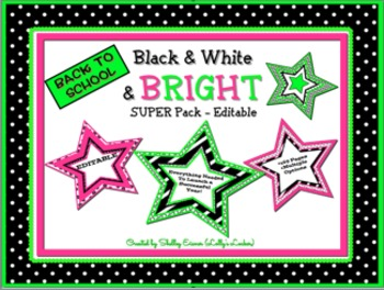 Back to School Black & White & Bright Editable SUPER Pack