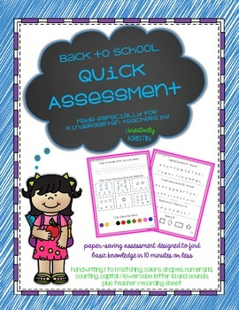 Back to School {BoY} Kindergarten Quick Assessment - No Prep