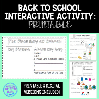 Back to School Mini Books for Autism, ABA or Special Education