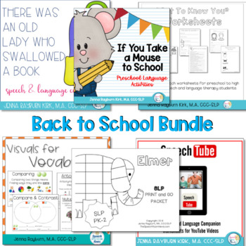 Back to School Bundlefor Speech Therapy