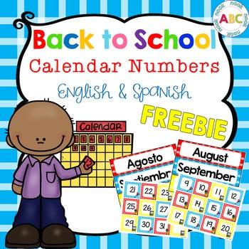 Back to School Calendar Numbers (English and Spanish) FREEBIE