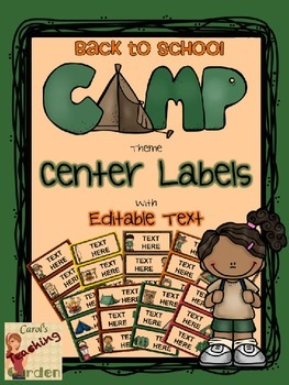 Back to School Camp Theme Center Labels or Tags with Edita