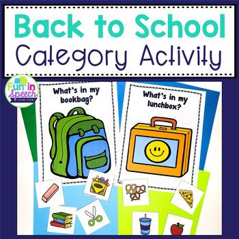 Back to School - Categorization Activity
